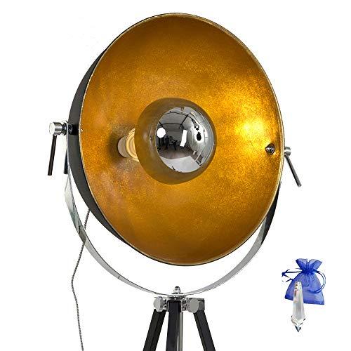 Staande lamp zwart met reflector goud E27 voor gloeilamp of LED industriële studiolamp 7679ZW + Kristal Give Away