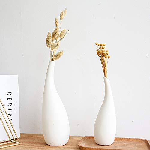 Haucy 2er Set Blumenvasen, Weiß Keramik Vasen, Japanischer Blumen Pflanzen Deko, für Wohnzimmer Tisch Zuhause Büro Deko- 4x19/6x25cm