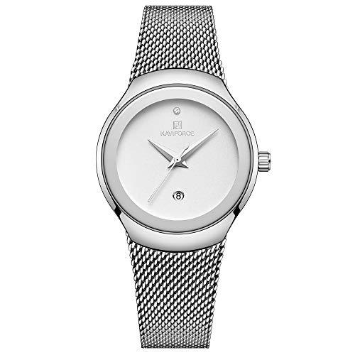 NAVIFORCE Women Fashion Analog Quartz Watch Casual Waterproof Lady Dress Watches Simple Luxury Diamond Stainless Steel Band Wristwatch (Silver)