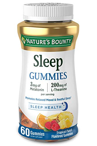 Melatonin by Nature's Bounty, 100% Drug Free Sleep Aid, Dietary Supplement, Promotes Relaxation and Sleep Health, 3mg Melatonin and 200mg L-Theanine, Tropical Punch Flavor, 60 Gummies