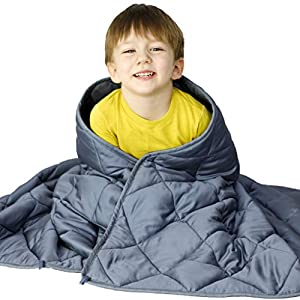 WONAP Cooling Weighted Blanket for Kids | 100% Natural Bamboo Viscose | 7 lbs | 41″x60″ | Heavy Blanket | Folkstone Grey