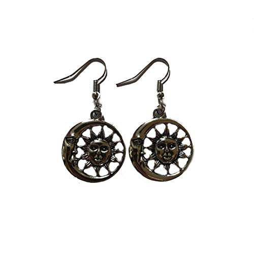 Sun and Moon Fusion Earrings on Sterling Silver Hooks Planet Seasons Jewelry