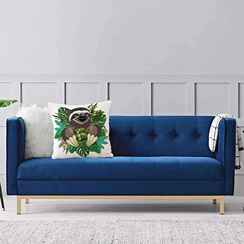 Comode federe e fodere per cuscini,Bradipo, mammifero del fumetto sulla giungla tropicale con foglie di banano verde simpatico personag Per la decorazione del divano letto 1 pezzo 45x45 cm