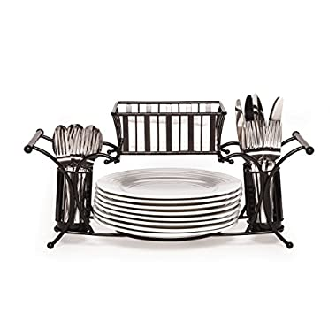Gourmet Basics by Mikasa 5154842 Band and Stripe Metal Hostess Flatware Napkin and Plate Tabletop Buffet Picnic Caddy, Antique Black