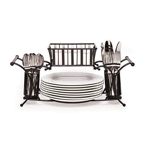 Gourmet Basics by Mikasa Band and Stripe Metal Hostess Flatware Napkin and Plate Tabletop Buffet Picnic Caddy