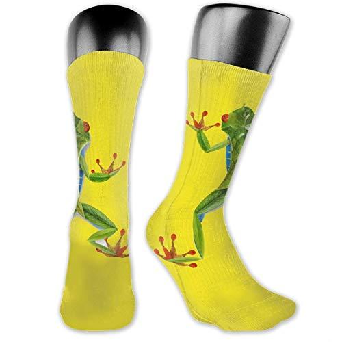 NA Green Leaf Frog High Knöchelsocken mittellang Crew Socken Sportsocken für Damen und Herren