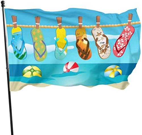 Viplili Flagge/Fahne, Beach Slippers Flag 3x5 Ft, Double Stitched Polyester with Brass Grommets 3x5 Feet Flags for Outdoor Indoor Home Decor