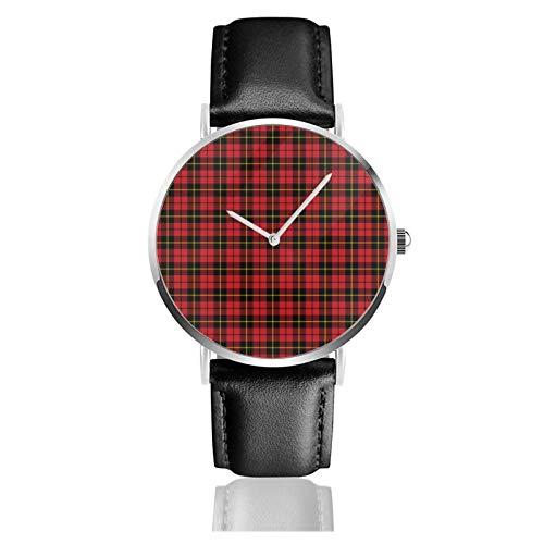 Reloj de cuero Wallace Clan Tartan Unisex Clásico Casual Moda Reloj de Cuarzo Reloj de Acero Inoxidable con Correa de Cuero