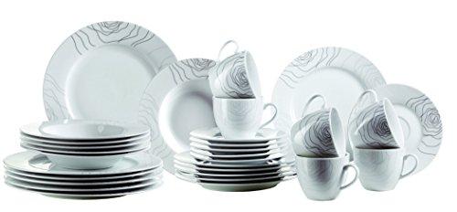Mäser, Serie Elisso, Kombiservice 30-teilig, Porzellan Geschirr-Set für 6 Personen