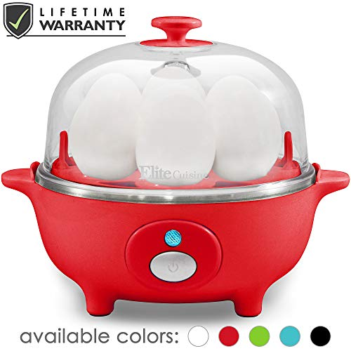 Maxi-Matic EGC-007R Easy Electric Egg Poacher, Omelet, Scrambled, Soft, Medium, Hard-Boiled Boiler Measuring Cup Included, 7 Capacity, Red