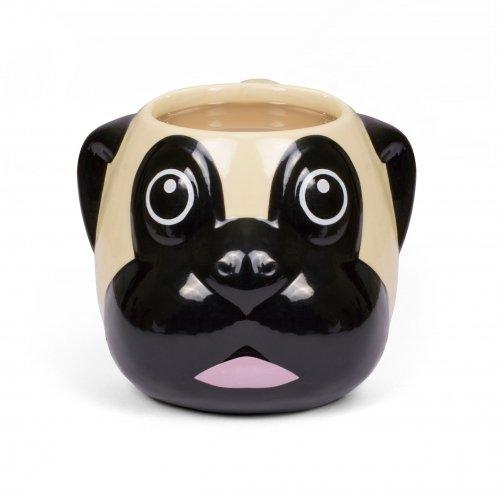 Thumbs Up Pug Mug-Mops Tasse, Keramik, braun/schwarz, 13 x 7 x 20.5 cm