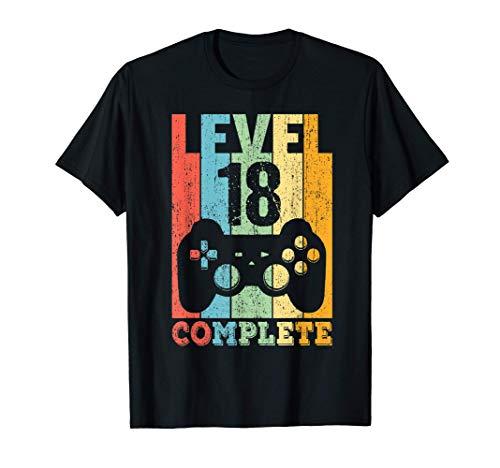 18 Anni Compleanno Maschio Ragazza Uomo Regalo Level 18 Maglietta