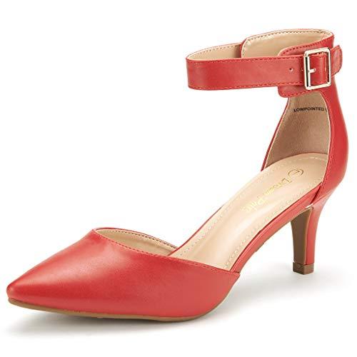 DREAM PAIRS Women's Lowpointed Red Pu Low Heel Dress Pump...