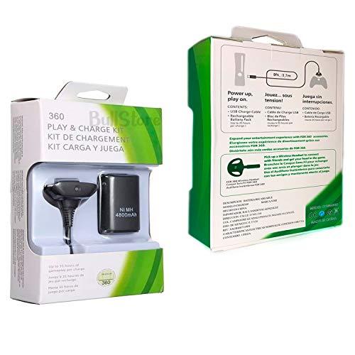BullStore Kit Bateria Recargable y Cable USB para Control Xbox 360, Carga y Juega Xbox 360