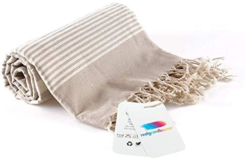 realgrandbazaar Turkish Towel Beach Towel 100 Cotton Pre Washed Softly 37 x 64 Oversized Clearance product image