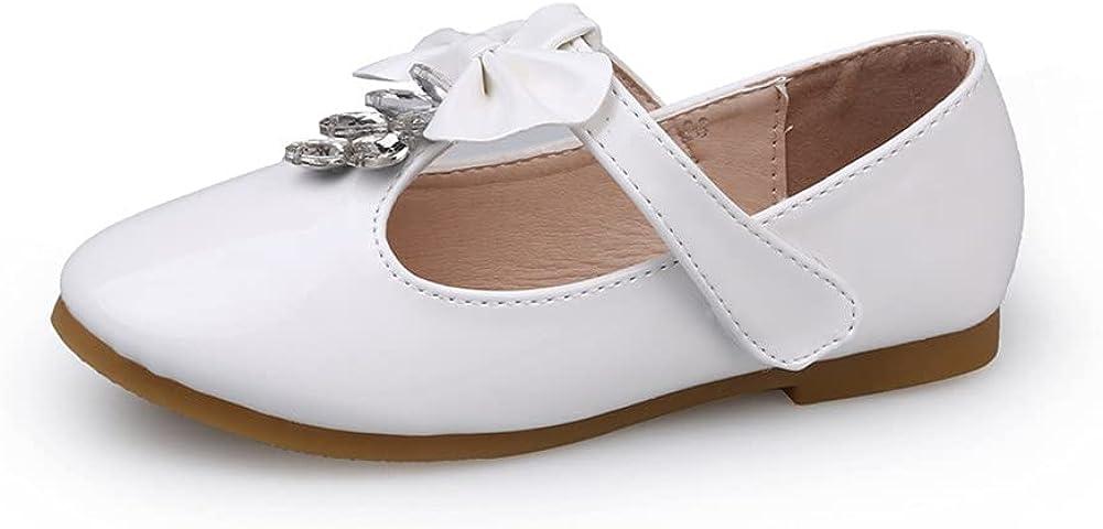 JGKDTX Girl's Adorable T-Strap Mary Jane Ballerina Flat Rhinestone Princess Party Dress Shoes(Toddler/Little Kid)