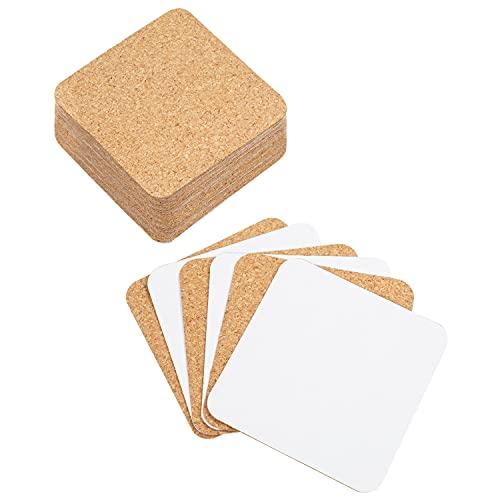 BELLE VOUS Sottobicchieri Sughero Autoadesivi Quadrati (50pz) - 9,5 x 9,5 cm - Fogli Sughero Adesivi per Parete e Sottobicchiere Sughero - Sughero Adesivo per Decorazioni Legno Fai da Te