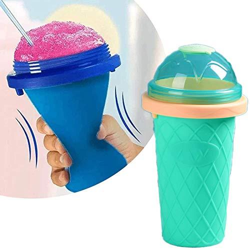 Slushy Maker Chillfactor Magic Freez, Slush Ice Maker Becher, Slush Ice Becher Plastik, Slush Ice Becher Plastik, Eisbecher Glas Set Bunt, StrohhalmlöFfel Wiederverwendbar Kurz Minzgrün MintGreen