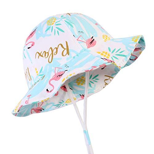 Baby Mädchen Sonnenhut bis 50 Flamingo Grafik Lustige Kinder Jungen Sommermütze, verstellbare Träger (0-24 Monate)