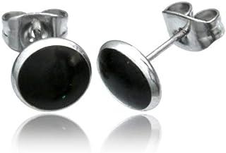 Chic-Net Orecchini da uomo e donna in acciaio inox con pietra conchiglia in argento 8 mm, rotondi, gioiello in acciaio chi...