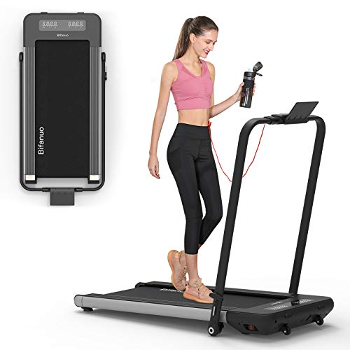 BiFanuo 2 in 1 Folding Treadmill, Smart Walking Running Machine with Bluetooth Audio Speakers, Installation-Free,Under Desk Treadmill for Home/Office Gym Cardio Fitness(Gray)