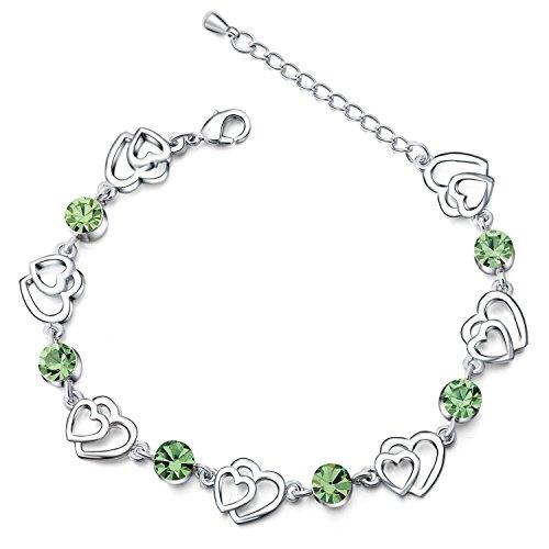 Morbuy Pulsera de Mujer, Diseño Romántico Joyería Chapado en Oro Mujeres Encanto Pulsera de Cristal de Plata Colgante Corazón Pulsera Ajustable (Verde)