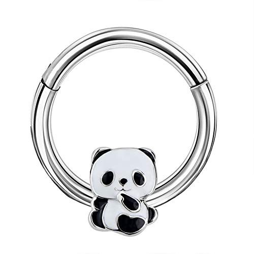 OUFER Animal Daith Septum Piercing Hoop 316L Stainless Steel Panda Hinged Segment Clicker Hoop 16G Daith Helix Tragus Earring Jewelry Septum Earing Jewelry