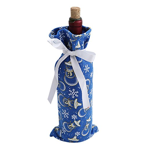 Buildent(TM) Christmas Blue Bottle Cover Home Dinner Decoration Table Decor Snowman Print Bag On Wine Bottle Xmas Gifts Supplies New