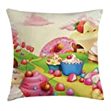 ice cream bar couch - Ambesonne Modern Throw Pillow Cushion Cover, Yummy Donuts Land Cupcakes Ice Cream Cotton Candy Clouds Kids Nursery Design, Decorative Square Accent Pillow Case, 24