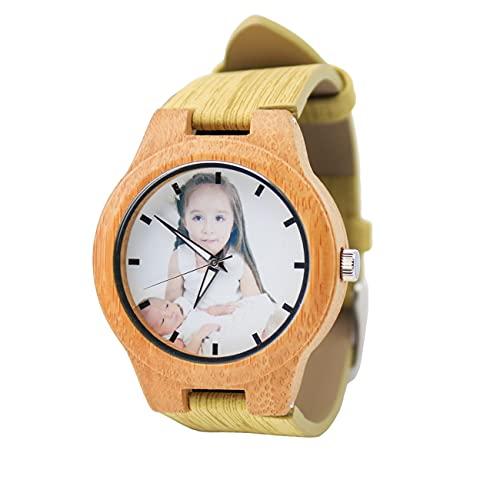 Reloj Personalizado Reloj De Pareja Reloj De Foto Personalizado Reloj Grabado Reloj De Bambú Reloj Unisex Aniversario Cumpleaños Mejor Regalo