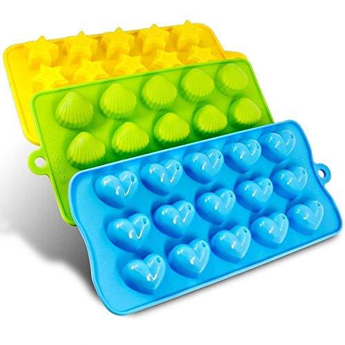 Voarge Juego de 3 moldes de silicona para cubitos de hielo, corazones, estrellas y conchas, divertido juego de juguetes para niños, para cubitos de hielo, bombones, caramelos