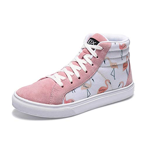 YaGFeng Graffiti High-Top Canvas Shoes Zapatos De Mujer Invierno All-Match Casual Shoes,38