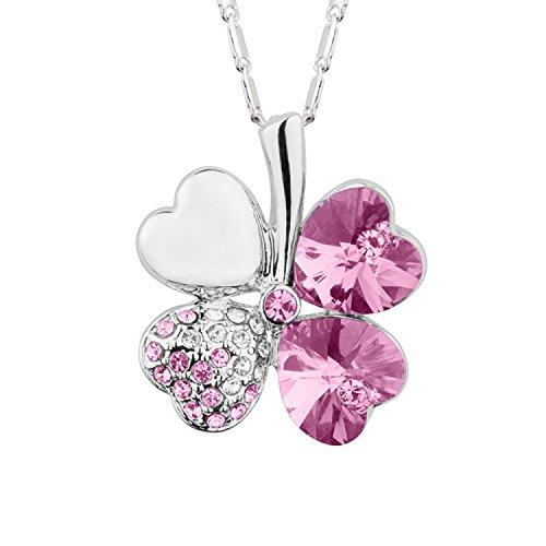 Mianova Damen Kette Halskette Kleeblatt Anhänger mit Swarovski Elements Strass Kristall und Herzen Steinen Vergoldet Silber Pink