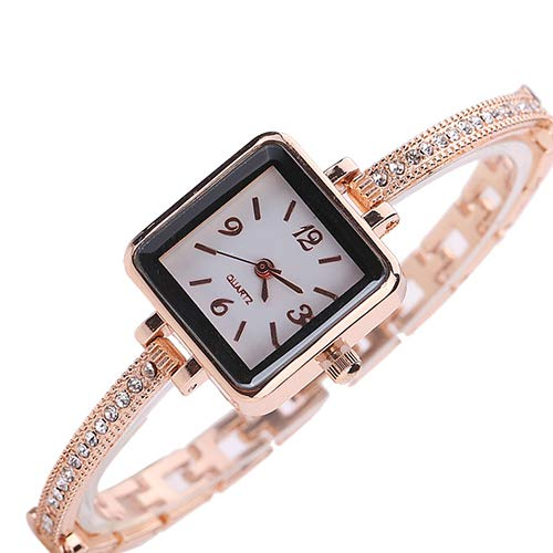 Yosemite Reloj de pulsera para mujer con incrustaciones de diamantes de imitación ultrafina, correa cuadrada, reloj de pulsera fácil de leer, reloj de cuarzo para mujeres y niñas, regalo de oro rosa