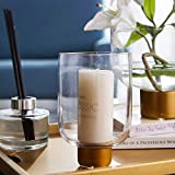 cyl home Hurricane Candleholder Clear Glass Flower Arrangement Vase with Brass Stand Decor...
