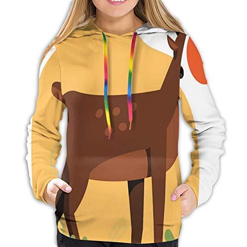 Women's Fashion Hoodies 3D Print Happy Reindeer Colorful Meadow Illustration Classic Pullover Hooded Sweatshirt,Medium