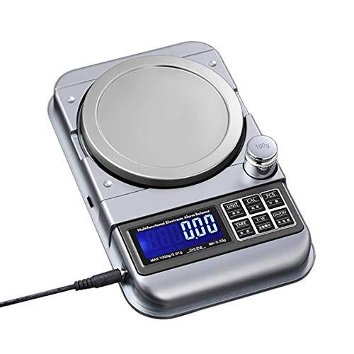 SNOWINSPRING Balanza Digital ElectróNica Herramienta de Pesaje de Escala de Joyas 3000G / 0.1G Pantalla LCD de Alarma de BateríA Baja