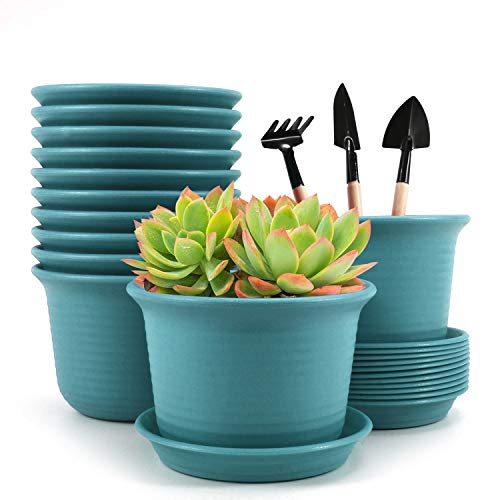 Baodan Plastic Flower Plant Pots, 6 inch Plant Containers with Drainage Holes and Trays, Decorative Round Seedling Nursery Planters for Indoor Outdoor, Set of 12- Plants Not Included (Blue)