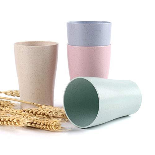 Zunruishop Wegwerp Cold Drink Party Cups Set van 4 Eco Friendly Healthy Plastic Cup Tarwe Rietje Biologisch afbreekbare Plastic Cup Mok voor Water Koffie Melk Sap Thee 280ml 9.5Oz Bulk Party Cups