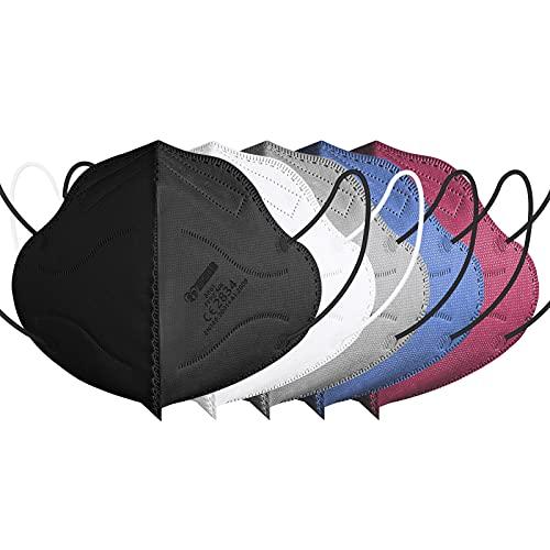 IDOIT 40x bunte FFP2 Maske farbig, CE zertifizierte Atemschutzmasken mit 5-lagige hohe Filtration, Einzeln verpackte Mund- und Nasenschutzmaske