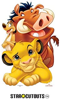 Star Cutouts SC1189 Lion King Group (Simba, Timon and Pumbaa) Lifesize Cardboard Cutout Perfect for Fans, Friends, Collectors and Family Height 89cm, Multicolour