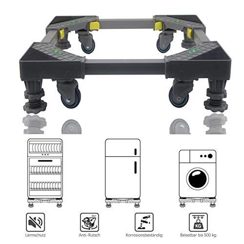 Allesin Waschmaschine Roller Trolley einstellbare Multifunktionsbeweglicher Für Trockner, Kühl Verstellbarer Sockel, Bienenwaben-Pleuel mit 4x2 drehbaren Gummi-Rädern und 4 stabilen Füßen