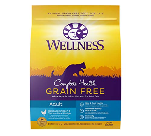 Wellness Complete Health Natural Grain Free Deboned Chicken & Chicken Meal Dry Cat Food, 11.5 Pound Bag
