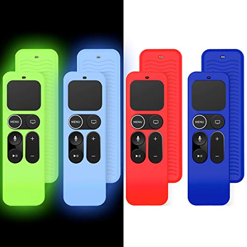 TOLUOHU(4 Pcs) Protect Remote Case for Apple TV 4K 5th / 4th Gen, Silicone Remote Cover for Apple TV Siri Remote Control Lightweight/Anti Slip/Shockproof