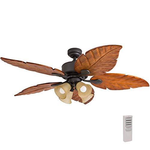Importancia casa 41301–01royal Palm Tropical Ventilador de techo con mando a distancia, de madera tallada a mano cuchillas, 52cm, Bronce