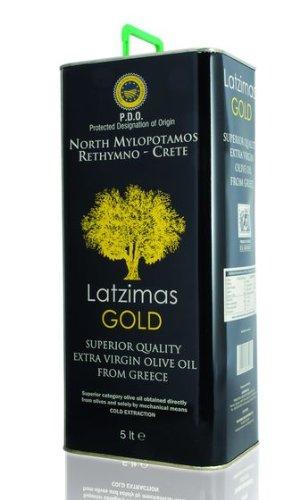 Huile d'olive vierge extra Latzimas GOLD première pression à froid bidon 5 litres Crète Grèce appellation d'origine protégée