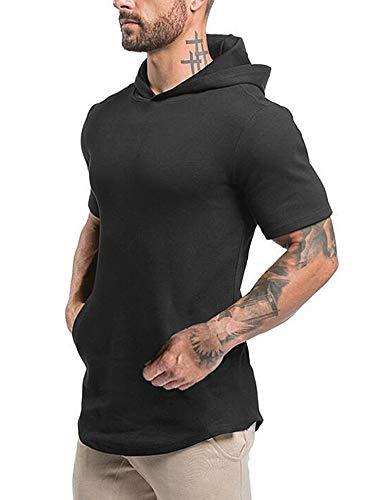 Magift Men's Curved Hem Hipster Hip Hop Workout Cotton Fitness Urban Sport Running Hooded Sweatshirt (Black, L)