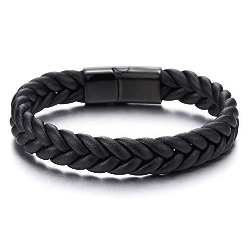 COOLSTEELANDBEYOND Gut Aussehende Leder-Armband für Herren Damen, Schwarz Geflochtenes Leder Armreif mit Schwarz Edelstahl Magnetverschluss