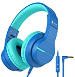 [2021 Upgrade] iClever HS19 Kids Headphones with Microphone for School, Volume Limiter 85/94dB - Shareport - Wired Headphones for Kids for Online Learning/iPad/Kids Tablet/Travel, Navy Blue