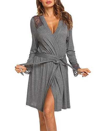 Morgenmantel Bademantel Damen Kurz Nachtwäsche Elegant Robe Pyjama Reisemantel mit Spitzen V Ausschnitt für Schwangere Mollige